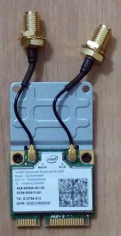 Intel Centrino Advanced-N 6205 + フル・サイズ変換ボード(表)