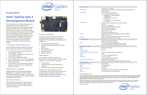Intel Galileo Gen2 Product Brief 330736-002