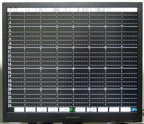 PC-9800シリーズ標準の80桁×30行の表示
