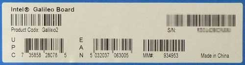 Intel Galileo Gen 2の箱に張られている製品情報シール