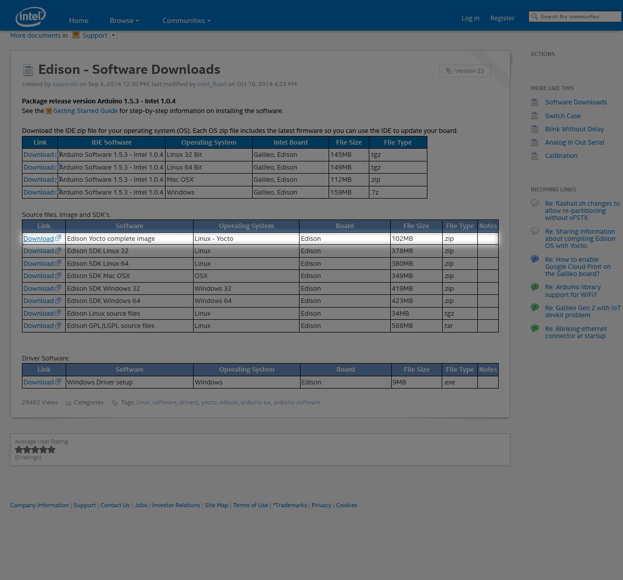 Edison Software Downloadsで選択するファイル