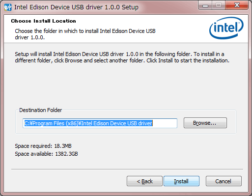 Intel Edison Device USB Driver インストール先選択