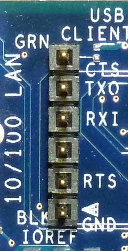 インテル Galileo Gen 2 ボードのUARTコネクター部分