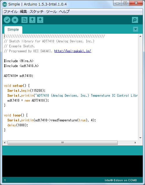 Arduino IDEにインストールされたADT7410のサンプル・スケッチを開いてみた