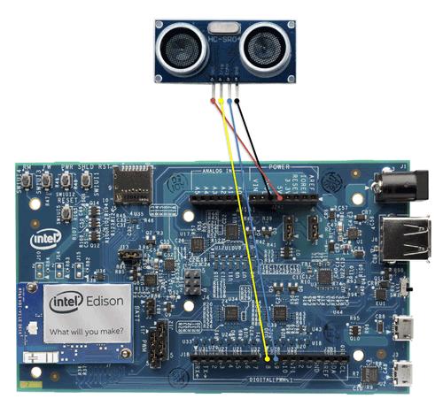Intel Edison Kit for ArduinoとHC-SR04の接続図