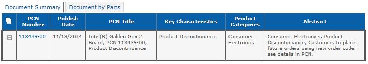 製品終息を告知する文書の検索結果