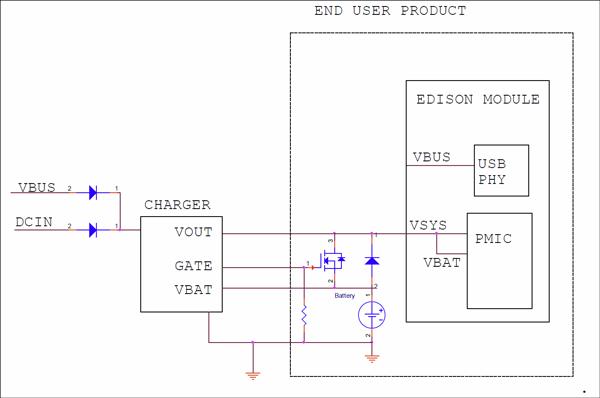 Intel® EdisonにFETによる隔離を備えたリチウムポリマー・バッテリーの例