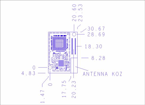 Intel® Edisonモジュールの物理寸法(PCBを上から見下ろした図)