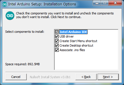 Intel版Arduino IDE 1.6.0からインストールするコンポーネントの選択