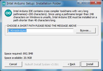 Intel版Arduino IDE 1.6.0をインストールする先のパスの入力