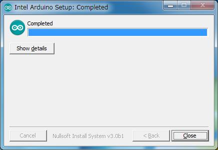 Intel版Arduino IDE 1.6.0のインストール終了