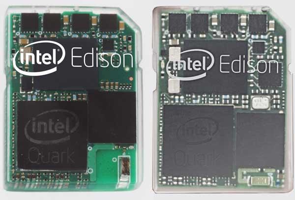 初期Intel Edisonの2タイプを並べた写真(加工済み)