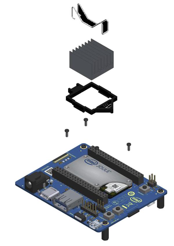 Intel Joule Module、キャリア・ボードおよびヒートシンク(CG)